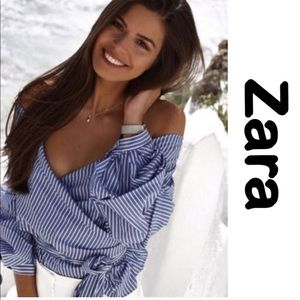 Zara stripped off the Shoulder blouse